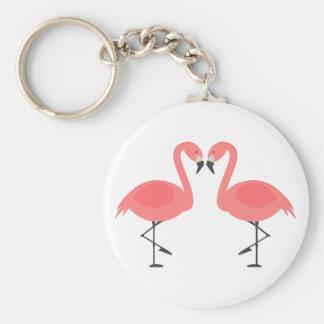 Tropical Pink Flamingos - Hawaiian, Luau Pink Love Keychain