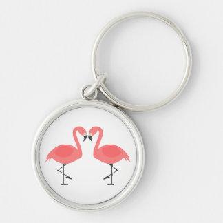Tropical Pink Flamingos - Hawaiian, Luau Silver-Colored Round Keychain