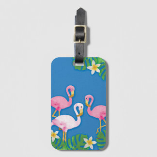 Tropical Pink Flamingos on Blue Luggage Tag