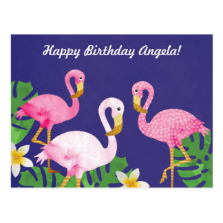 Tropical Pink Flamingos on Purple Postcard
