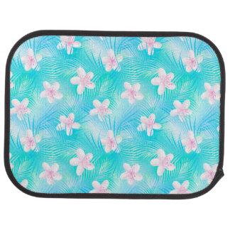Tropical pink frangipani car mat