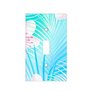 Tropical pink frangipani light switch cover