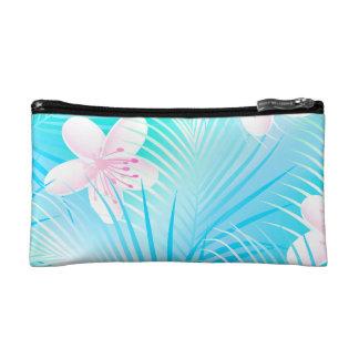 Tropical pink frangipani makeup bag