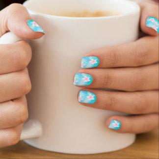 Tropical pink frangipani minx nail art