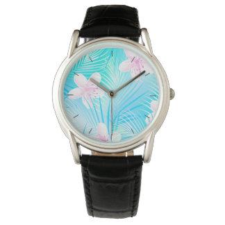 Tropical pink frangipani watch