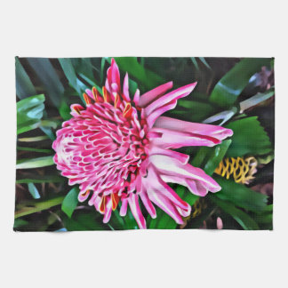 Tropical Pink Ginger Tea Towel