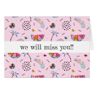 Tropical Pink Memphis Style Pattern Card