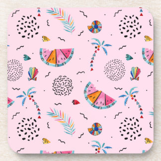 Tropical Pink Memphis Style Pattern Coaster