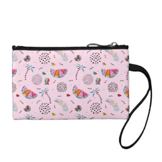 Tropical Pink Memphis Style Pattern Coin Purse