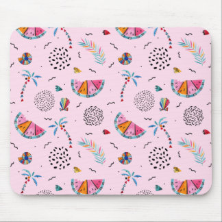 Tropical Pink Memphis Style Pattern Mouse Pad