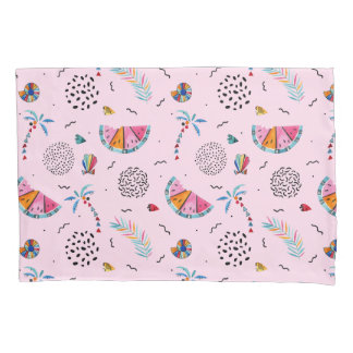 Tropical Pink Memphis Style Pattern Pillowcase