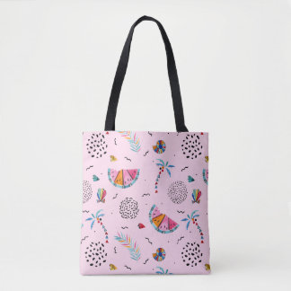 Tropical Pink Memphis Style Pattern Tote Bag