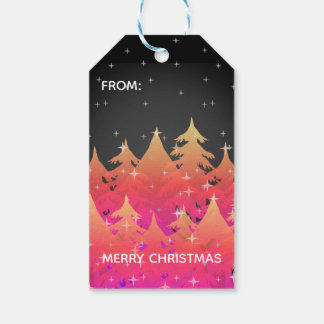 Tropical Pink Orange Christmas Trees Night Sky Gift Tags