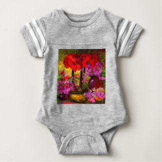 TROPICAL PINK ORCHIDS RED AMARYLLIS STILL LIFE BABY BODYSUIT