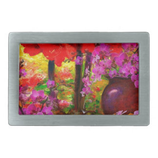 TROPICAL PINK ORCHIDS RED AMARYLLIS STILL LIFE BELT BUCKLE