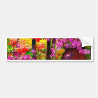 TROPICAL PINK ORCHIDS RED AMARYLLIS STILL LIFE BUMPER STICKER