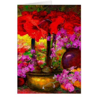 TROPICAL PINK ORCHIDS RED AMARYLLIS STILL LIFE CARD