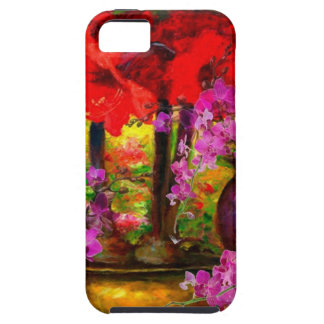 TROPICAL PINK ORCHIDS RED AMARYLLIS STILL LIFE CASE FOR THE iPhone 5