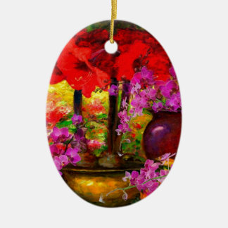 TROPICAL PINK ORCHIDS RED AMARYLLIS STILL LIFE CERAMIC ORNAMENT