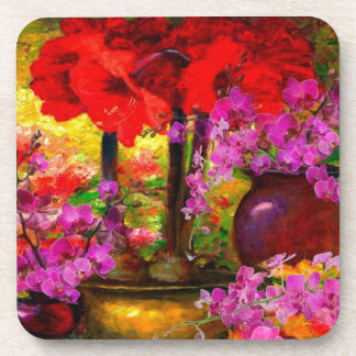TROPICAL PINK ORCHIDS RED AMARYLLIS STILL LIFE COASTER
