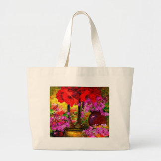 TROPICAL PINK ORCHIDS RED AMARYLLIS STILL LIFE LARGE TOTE BAG