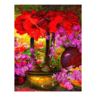 TROPICAL PINK ORCHIDS RED AMARYLLIS STILL LIFE LETTERHEAD