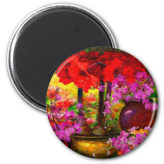 TROPICAL PINK ORCHIDS RED AMARYLLIS STILL LIFE MAGNET