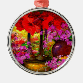 TROPICAL PINK ORCHIDS RED AMARYLLIS STILL LIFE METAL ORNAMENT