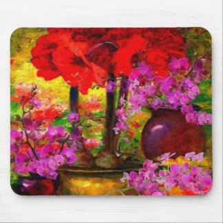TROPICAL PINK ORCHIDS RED AMARYLLIS STILL LIFE MOUSE PAD