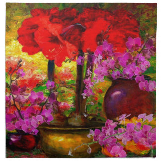 TROPICAL PINK ORCHIDS RED AMARYLLIS STILL LIFE NAPKIN
