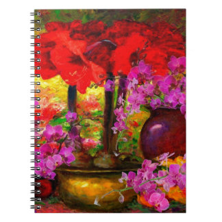 TROPICAL PINK ORCHIDS RED AMARYLLIS STILL LIFE NOTEBOOK