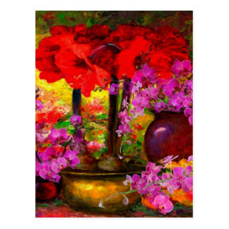 TROPICAL PINK ORCHIDS RED AMARYLLIS STILL LIFE POSTCARD