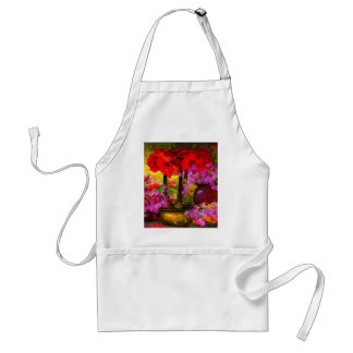 TROPICAL PINK ORCHIDS RED AMARYLLIS STILL LIFE STANDARD APRON