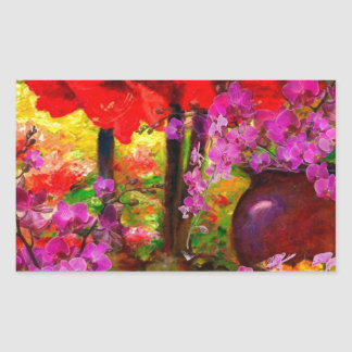 TROPICAL PINK ORCHIDS RED AMARYLLIS STILL LIFE STICKER