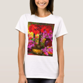 TROPICAL PINK ORCHIDS RED AMARYLLIS STILL LIFE T-Shirt