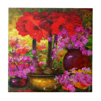 TROPICAL PINK ORCHIDS RED AMARYLLIS STILL LIFE TILE