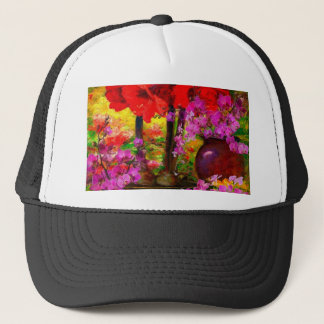 TROPICAL PINK ORCHIDS RED AMARYLLIS STILL LIFE TRUCKER HAT