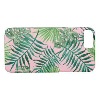 Tropical Pink Palm Fronds and Ferns Case-Mate iPhone Case