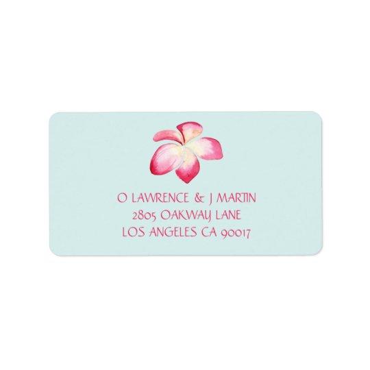Tropical Pink Plumeria Watercolor Label