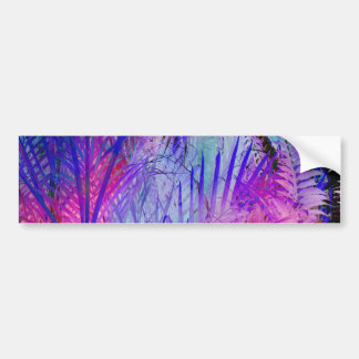 Tropical pink purple watercolor palm trees pattern bumper sticker