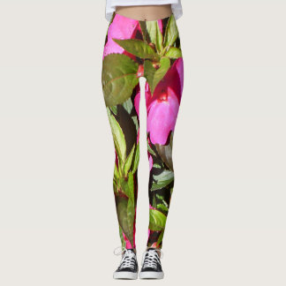 Tropical Pink Red and Green Botanical Statement Leggings