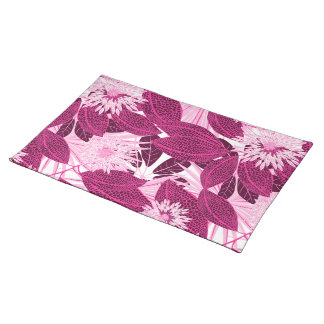 Tropical pink spotted floral placemat