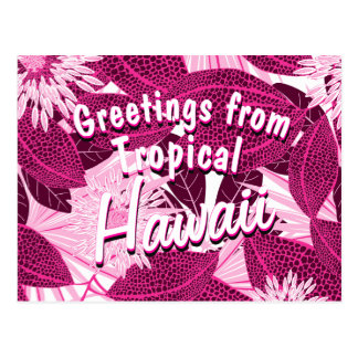 Tropical pink spotted floral postcard
