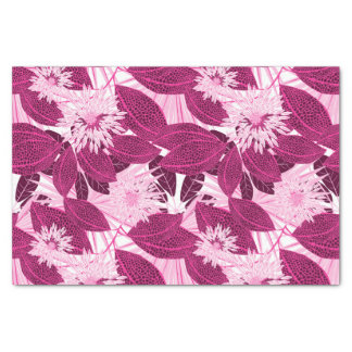 Tropical pink spotted floral tissue paper
