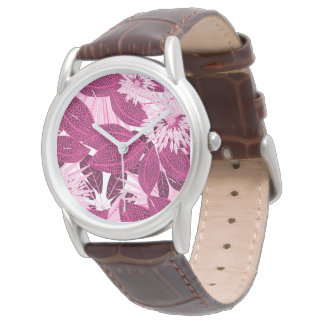 Tropical pink spotted floral watch