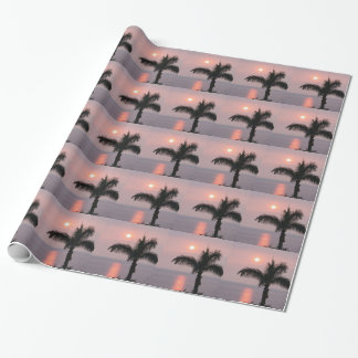 Tropical Pink Sunset and Palm Wrapping Paper