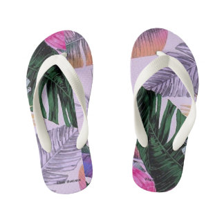 Tropical Plant Pattern Kids Flip Flops