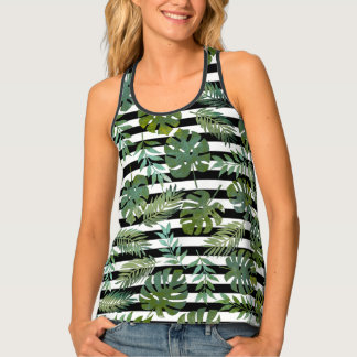 Tropical plant with leaves striped pattern tank top