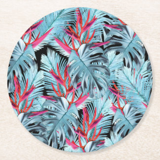 Tropical plants 1 . l round paper coaster