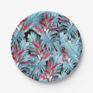 Tropical plants 1 . leaves , palm leaves , palm , paper plate
